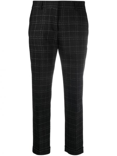 Шерстяные черные укороченные брюки узкого кроя с потайной застежкой Piazza Sempione