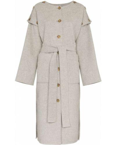 Шерстяное длинное пальто с капюшоном на пуговицах Rejina Pyo