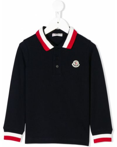 Niebieska klasyczna koszula bawełniana z haftem Moncler Kids