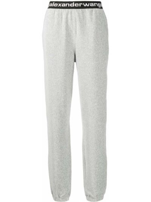 Хлопковые серые зауженные спортивные брюки эластичные T By Alexander Wang