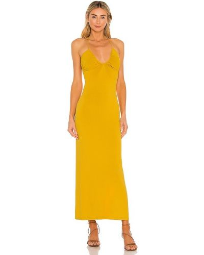 Желтое нейлоновое платье с оборками Ronny Kobo