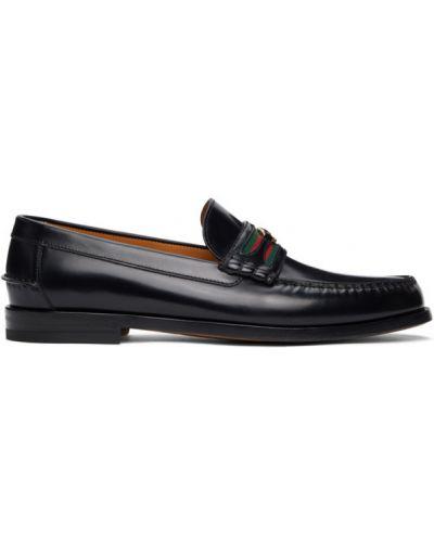 Czarny skórzany loafers okrągły Gucci