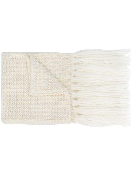 Шерстяной белый вязаный шарф Rossignol