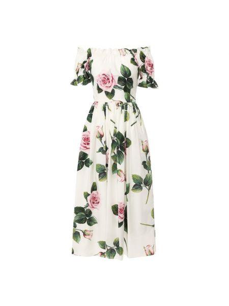 Платье миди с цветочным принтом из поплина Dolce & Gabbana