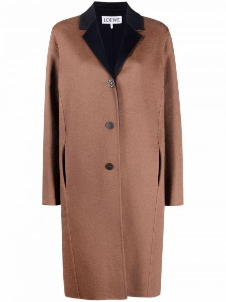 Коричневое шерстяное пальто Loewe