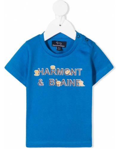 Хлопковая синяя футболка круглая с круглым вырезом Harmont & Blaine Junior