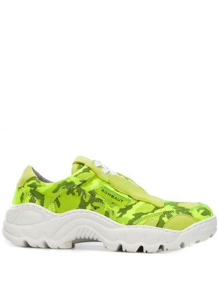 Zielone sneakersy skorzane płaska podeszwa Rombaut