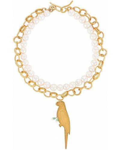 Złoty naszyjnik perły Mercedes Salazar