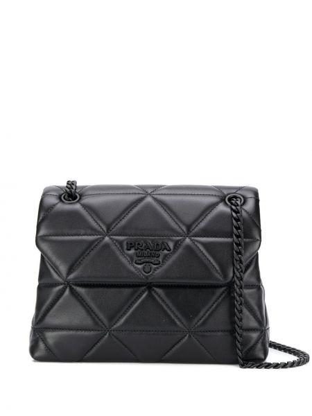 Черная кожаная сумка с пряжкой на молнии с карманами Prada
