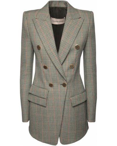 Зеленый шерстяной удлиненный пиджак с карманами Alexandre Vauthier