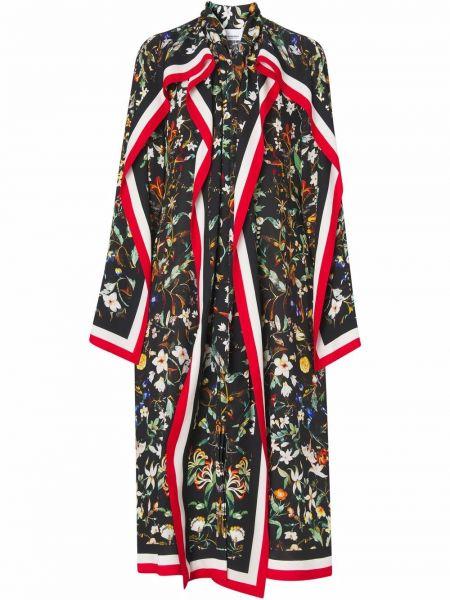 Шелковое платье миди - черное Burberry