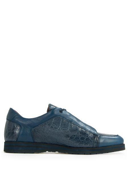 Синие кроссовки из крокодила на шнуровке с декоративной отделкой Zilli
