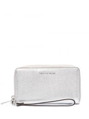 Кожаный кошелек - серебряный Michael Michael Kors