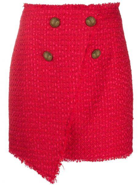 Красная юбка с запахом твидовая Balmain