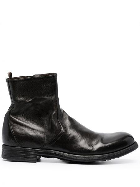 Czarny skórzany buty okrągły okrągły nos Officine Creative