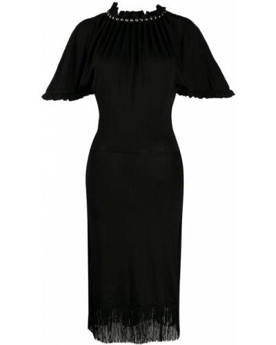 Шелковое с рукавами черное платье мини Paco Rabanne