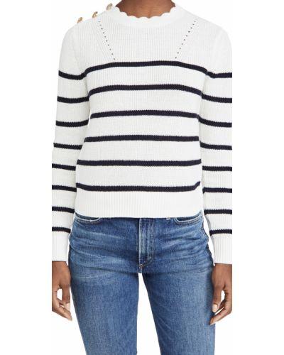 Бежевый длинный свитер в полоску круглый Veronica Beard