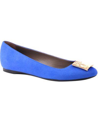 Кожаные балетки - синие Versace