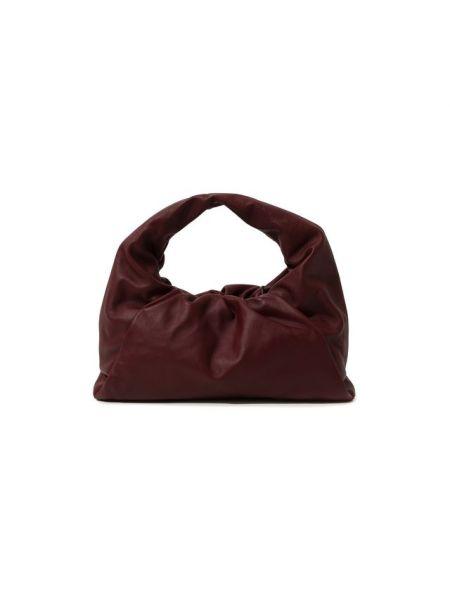 Кожаная красная мягкая кожаная сумка Bottega Veneta