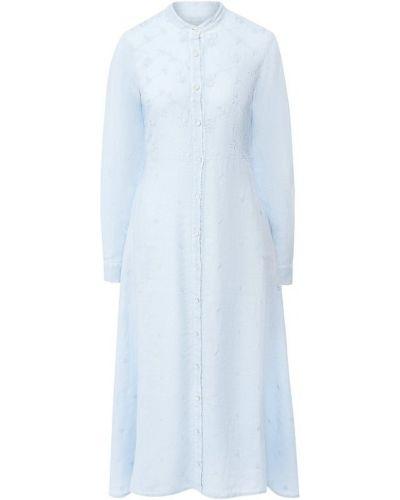 Платье миди с длинными рукавами - голубое 120% Lino