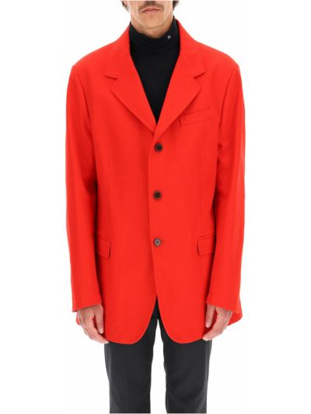 Czerwona kurtka bawełniana Raf Simons