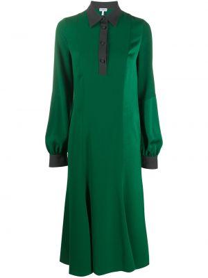 Классическое платье на пуговицах со вставками с воротником Loewe