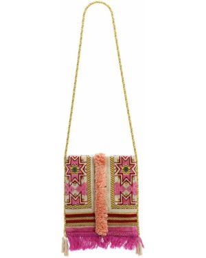 Ażurowa różowa torebka mini z wiskozy Malaga4