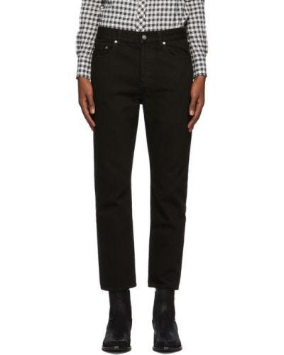 Prosto skórzany czarny jeansy o prostym kroju z kieszeniami Saint Laurent