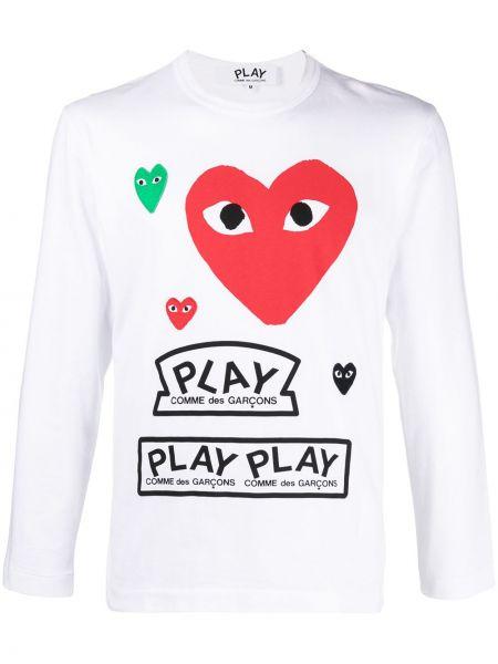 Хлопковая белая рубашка с длинными рукавами Comme Des GarÇons Play