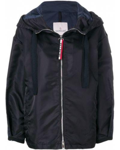 Куртка с капюшоном оверсайз длинная с вышивкой Moncler