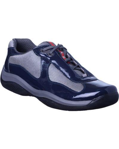Кожаные кроссовки - синие Prada
