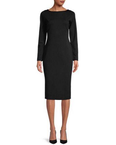 Нейлоновое черное платье макси с длинными рукавами Fame And Partners