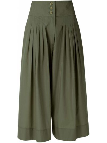 Зеленые хлопковые с завышенной талией шорты Nk