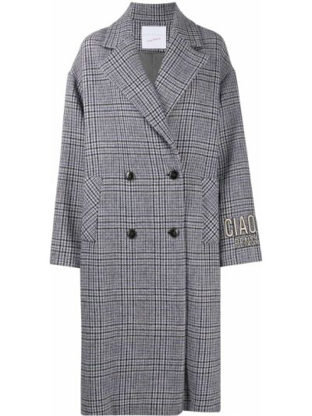 Шерстяное длинное пальто в клетку двубортное Giada Benincasa