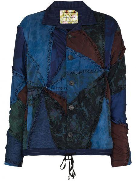 Шерстяная синяя куртка пэчворк By Walid