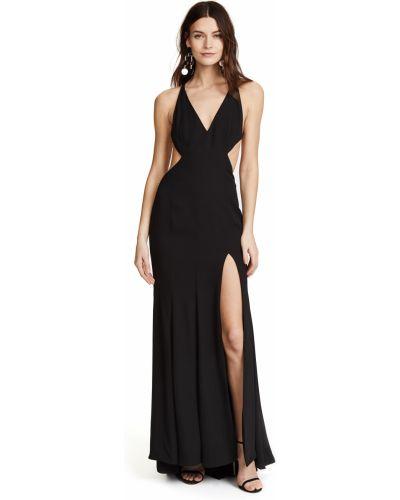 Черное платье макси с подкладкой на крючках Fame And Partners