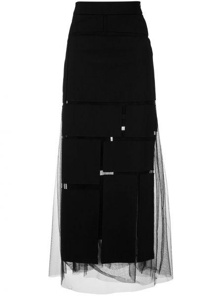 Прямая с завышенной талией черная юбка макси прозрачная Gloria Coelho
