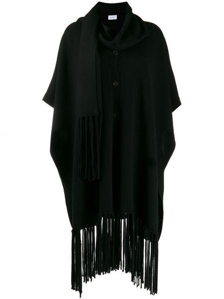 Черное кашемировое пальто с запахом Salvatore Ferragamo
