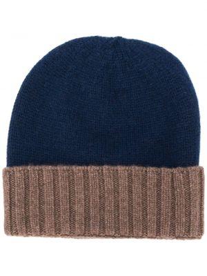 Кашемировая синяя шапка в рубчик с отворотом Dell'oglio