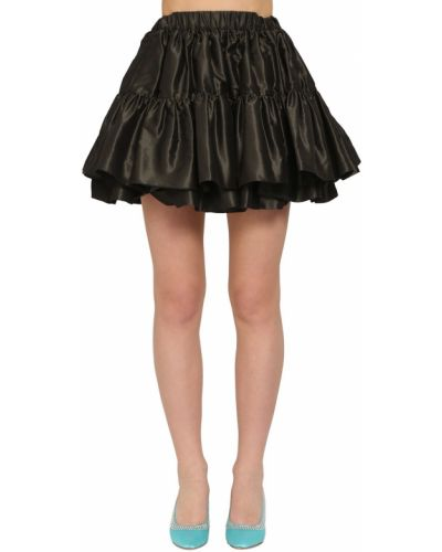 Шелковая черная юбка мини на резинке Miu Miu