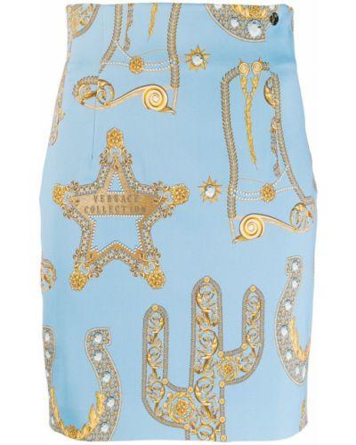 Плиссированная приталенная синяя юбка мини Versace Collection