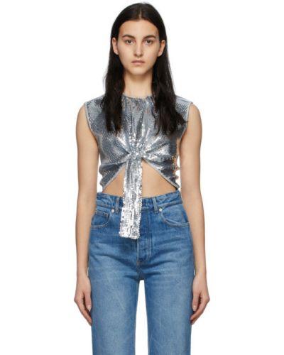 Серебряная блузка без рукавов с воротником Paco Rabanne