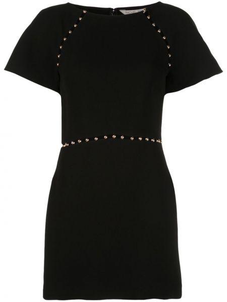 Czarna sukienka mini krótki rękaw srebrna Rachel Zoe