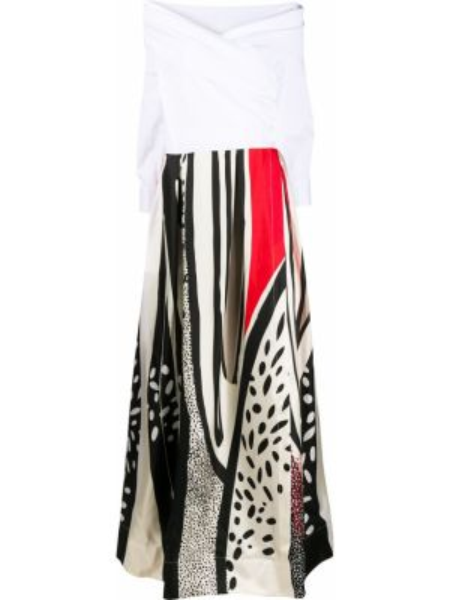 Белое шелковое пышное платье с рисунком Sara Roka