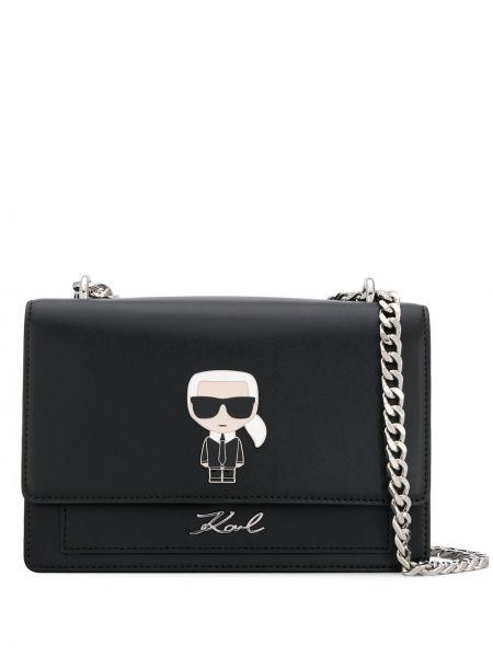 Czarna torebka na łańcuszku skórzana Karl Lagerfeld