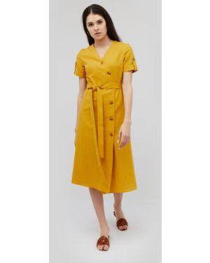 Платье с поясом с воротником на пуговицах Cardo