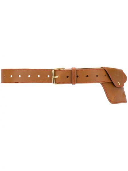Коричневый кожаный ремень с карманами Y Project