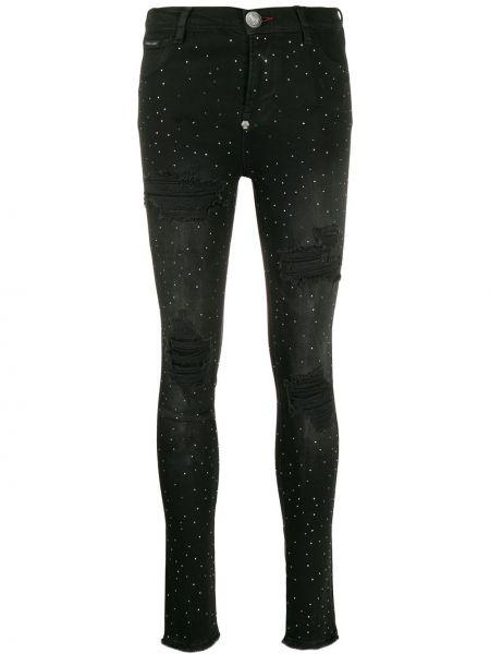Леггинсы с логотипом джинсовые Philipp Plein
