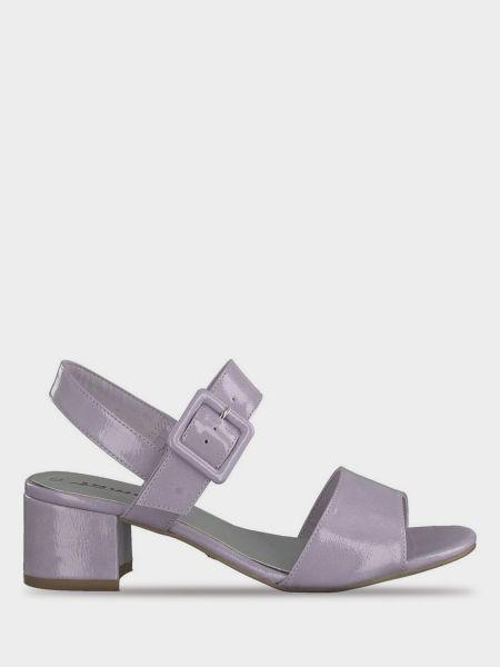 Повседневные фиолетовые кожаные босоножки Tamaris
