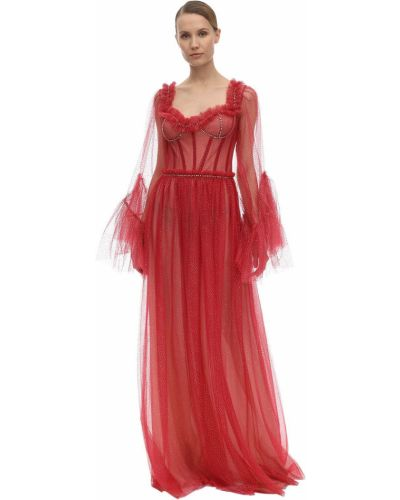 Ażurowa sukienka midi rozkloszowana tiulowa Sandra Mansour